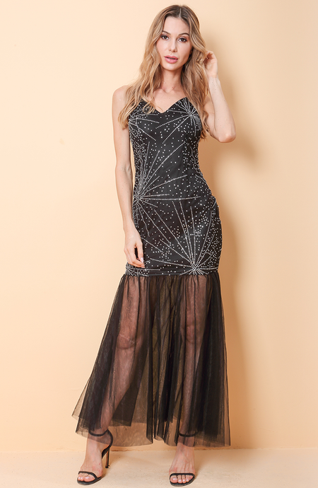 Imogen Bright Tulle Maxi Dress