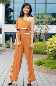 One Shoulder Tie Knot Jumpsuit