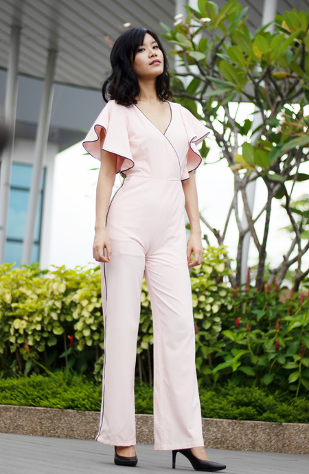 Flutter Sleeve Foldover Jumpsuit with Tie