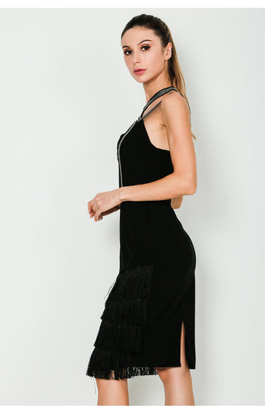 Shine On Tiered Fringe Dress