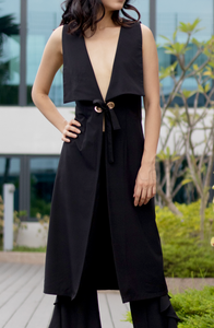Louisa Longline Coat with Ring Tie