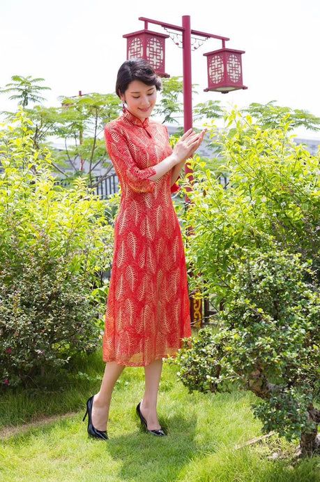 Charlize Gold Thread Cheongsam