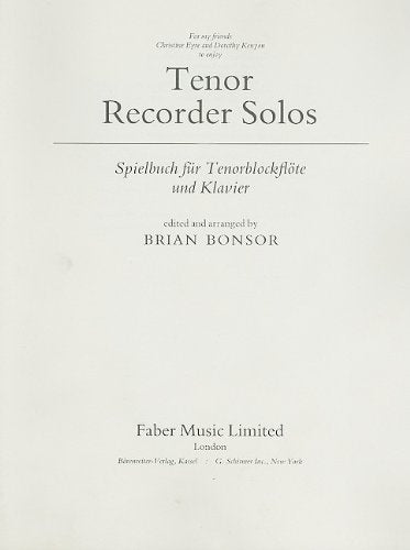 Tenor Recorder Solos: Parts (Faber Edition)