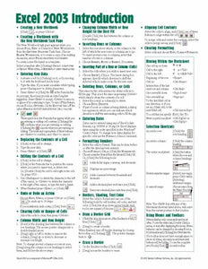 Microsoft Excel 2003 Introduction Quick Reference Guide (Cheat Sheet Of Instructions, Tips & Shortcuts - Laminated Card)