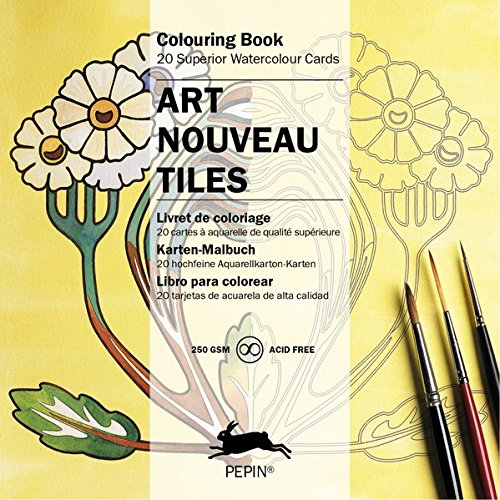 Art Nouveau Tiles (Colouring Cards) (English And German Edition)