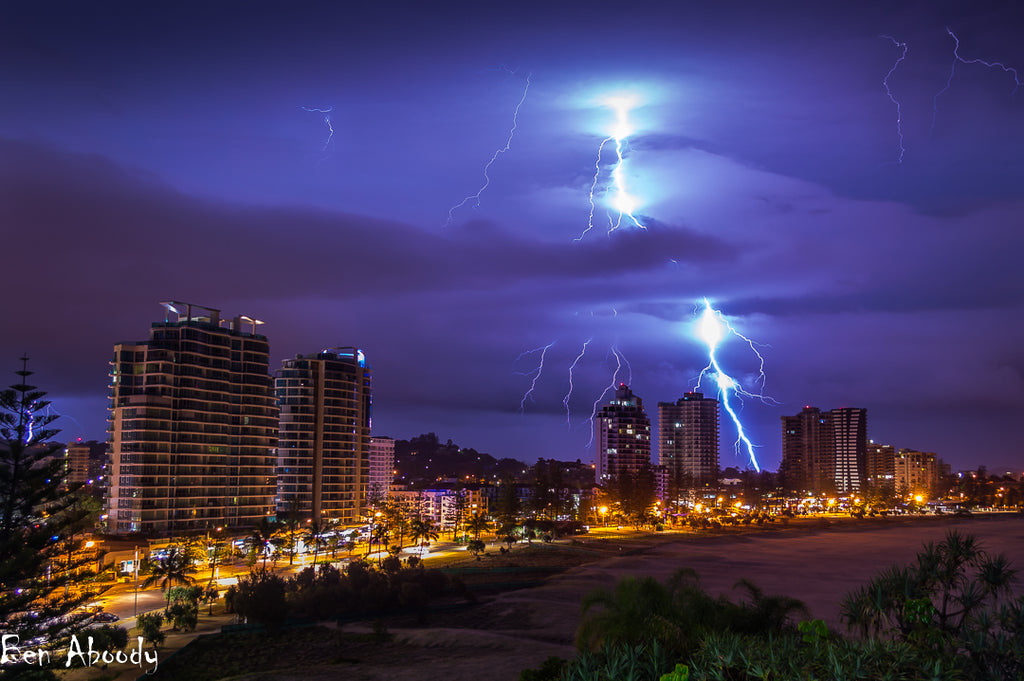 Lightning Strike Greenmount Beach - Ben Aboody Photography