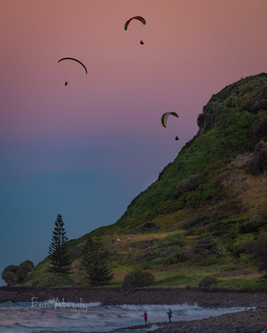 Paragliders Lennox Point - Ben Aboody Photography