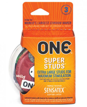 ONE Super Studs Latex Condoms - 3 Pack