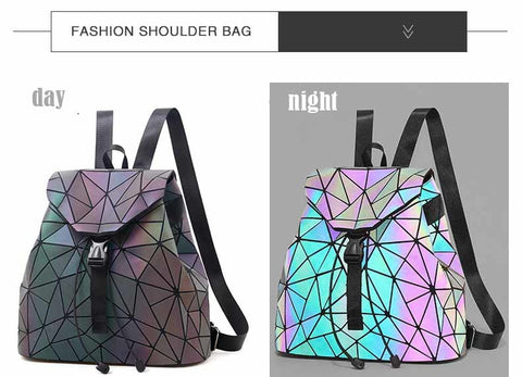 Laser Night Light Geometric Backpack
