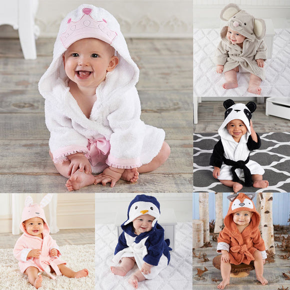 Pudcoco Kids Bathrobe 6M-5Y USA Boy Girl Animal Bathrobe Baby Hooded Bath Towel Infant Bathing Honey Baby