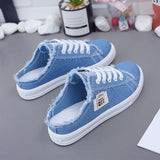 New 2019 Spring Summer Women Canvas Shoes flat sneakers women casual shoes low upper lace up white shoes