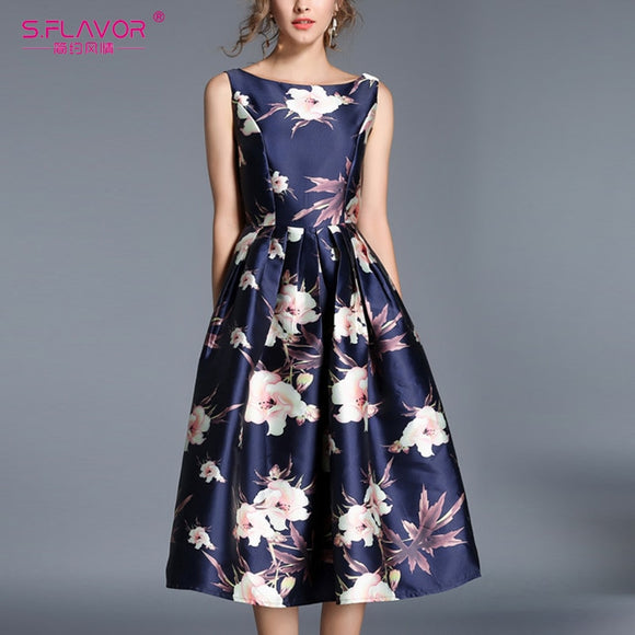S. FLAVOR Vintage Style Summer Sleeveless Dress Elegant A-line Sundress 2019 Elegant Backless Sexy Party Vestidos De Festa