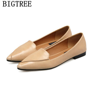 leather shoes women comfort shoes loafers women pointed toe flats vintage shoes 2019 women zapatillas mujer sapato feminino buty