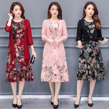 Large Size Summer Dress Women Floral Print Long Chiffon Dresses Two-Piece Set Womens Dresses Plus Size Vestidos L-5XL