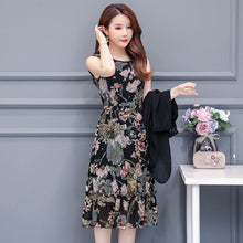 Load image into Gallery viewer, Large Size Summer Dress Women Floral Print Long Chiffon Dresses Two-Piece Set Womens Dresses Plus Size Vestidos L-5XL