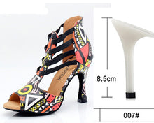 Load image into Gallery viewer, WUXIJIAO New Featured print Dance Shoes For Women Latin Salsa Dance Boots Paty Ballroom Dance Shoes Women Shoes 9CM