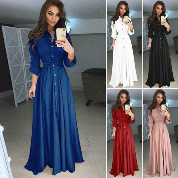New Women Dress Vintage Long Sleeve Solid Color Button Pocket Lace Up Belt Maxi Dress Fashion Evening Party Dresses Autumn Women