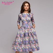 Load image into Gallery viewer, S,FLAVOR women Autumn Winter dress hot sale Casual Style printing long dress for female O-neck long sleeve loose vestidos
