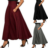 Vintage Womens Skirts High Waist Solid Color Pleated Solid Color Stretch Plain Skater Flared Pleated Long Skirt Autumn Women Hot