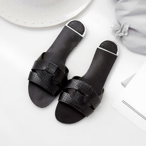 Women Slippers Slides Outdoor Ladies Flats Pu Leather Comfy Chic Soft Casual Elegant Summer Woman Fashion Shoes 2019