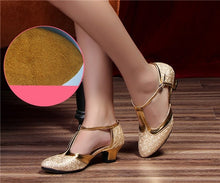 Load image into Gallery viewer, HoYeeLin New Modern Dance Shoes Women Ladies Closed Toe Tango Shoes Standard Waltz Ballroom Dancing Heels Indoor Suede Sole