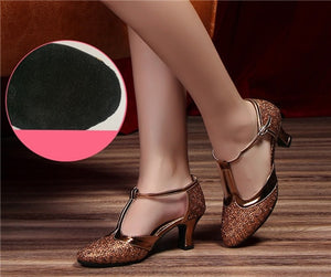 HoYeeLin New Modern Dance Shoes Women Ladies Closed Toe Tango Shoes Standard Waltz Ballroom Dancing Heels Indoor Suede Sole