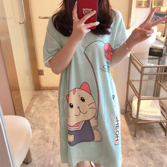 Womens Summer Short Sleeve Sleep Dress Lovely Cartoon Pattern Printed Sleepshirt Plus Size Oversized Nightdress