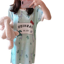 Load image into Gallery viewer, Womens Summer Short Sleeve Sleep Dress Lovely Cartoon Pattern Printed Sleepshirt Plus Size Oversized Nightdress