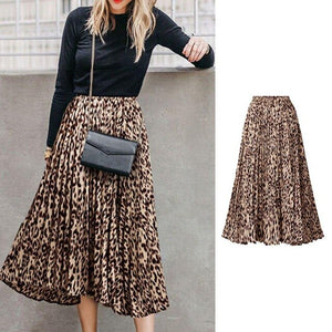 MISSKY 2019 New Girl Women Skirt Female High Waist Leopard Printing A-Line Long Pleated Skirt For Summer Spring Female Clothes