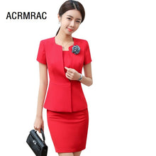 Load image into Gallery viewer, Women suits Slim summer Short sleeve jacket skirt 2-piece set OL Formal Business Women skirt suits Woman set suits 1399
