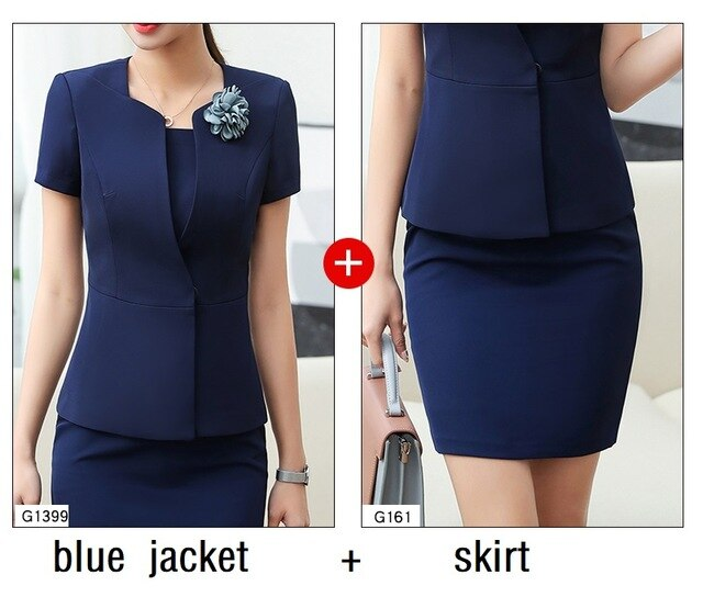 Women suits Slim summer Short sleeve jacket skirt 2-piece set OL Formal Business Women skirt suits Woman set suits 1399