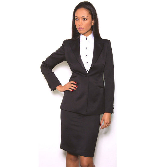 New Black Women Skirt Suit Long Sleeve Jacket 2 Piece Office Lady Business Suit Uniforms B332