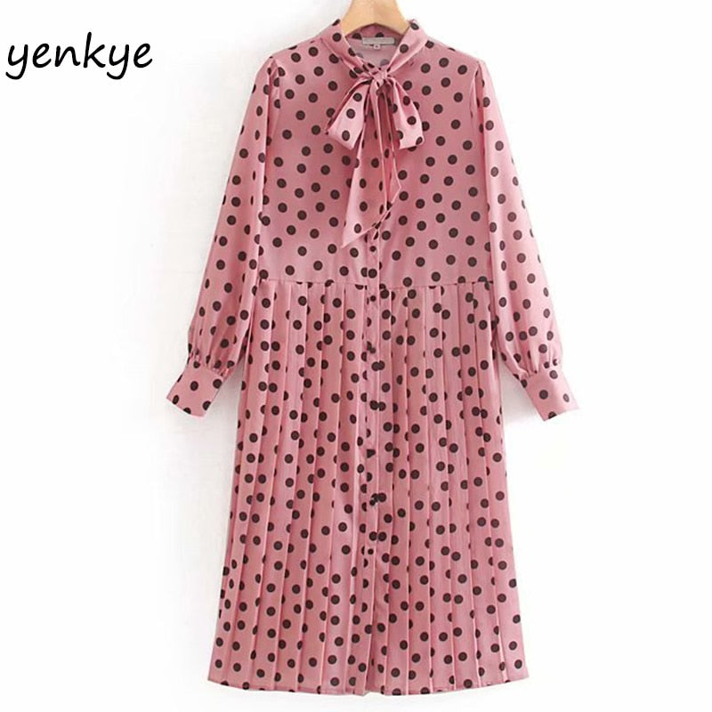 Fashion Women Vintage Polka Dot  Pleated Autumn Dress Lady  Bow Tie Collar Long Sleeve Midi Casual Plus Size Dress XNWM9006