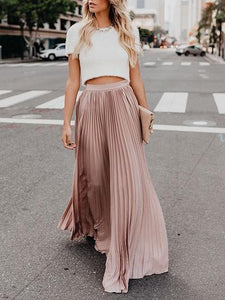 2019 Vintage Skirts Womens Chiffon Mesh High Waist Solid Color Long Maxi Skirts Pleated Half Length Beach Skirts Autumn Womens