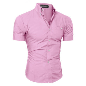 Men Slim Fit Shirt Short Sleeve Stylish Formal Tops Men Casual Short Sleeve Shirts Buttons Top Clothing Solid Plus Size W3
