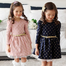 Load image into Gallery viewer, Polka dot dress vintage children clothing winter party dress long sleeve pleated a-line lace patchwork dress boutique cheap Y169