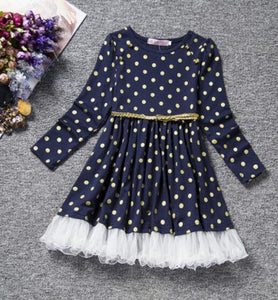 Polka dot dress vintage children clothing winter party dress long sleeve pleated a-line lace patchwork dress boutique cheap Y169