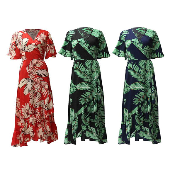 Womens Summer Half Flare Sleeves Chiffon Midi Dress Boho Tropical Leaves Printed Belted High Waist Split Asymmetric Ruffles Hem