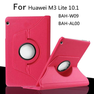 For Huawei MediaPad M3 Lite 10 BAH-W09/AL00 10.1 inch Tablet Case 360 Degree Rotating PU Leather Screen Protector Cover
