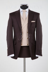 Popular Mens Suits Groomsmen Peak Lapel Groom Tuxedos Brown Wedding Best Man Suit  (Jacket+Pants+Tie+Vest) A42