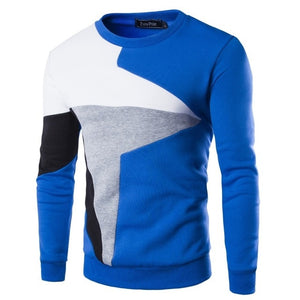 ZOGAA Pullover 2019 New Autumn and Winter 3 Color Men's Color Matching Casual Long Sleeve Pullover Sweater Big Size XXS-4XL