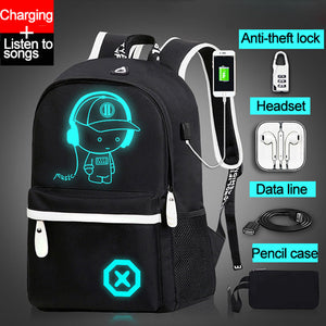 Children Backpack School Bags For Boy Girls Anime Luminous School Backpack Kids Waterproof Book Bag USB Charging SchoolBag Gift