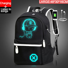 Load image into Gallery viewer, Children Backpack School Bags For Boy Girls Anime Luminous School Backpack Kids Waterproof Book Bag USB Charging SchoolBag Gift
