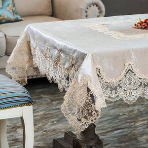 Europe classical embroidered tablecloth table dining table cover table cloth Gold velvet Lace table cloth Party tea tablecloth