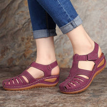 Load image into Gallery viewer, Summer Pu Leather Vintage Woman Sandals Buckle Casual Sewing Women Shoes Solid Female Peas Shoes Ladies New Platform Shoes 34-44