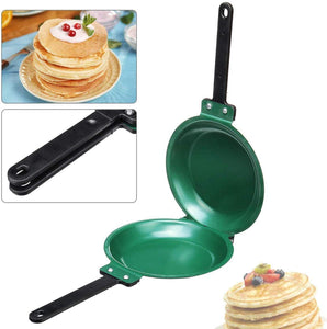DIY Non-Stick Flip Pan, Double Sided Pancake Maker Omelette Pan Healthy Frying Pan General Use for Gas and Induction Cooker