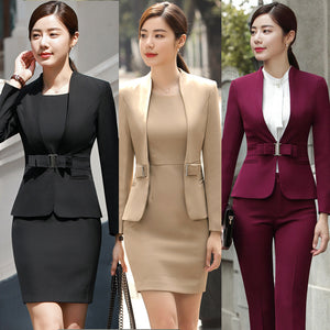 HOT Wine Black Apricot female elegant woman's office blazer dress jacket suit ladies office wear sets costumes business dresses
