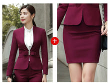 Load image into Gallery viewer, HOT Wine Black Apricot female elegant woman's office blazer dress jacket suit ladies office wear sets costumes business dresses