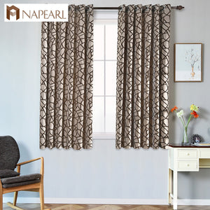Short modern curtain living room window kitchen window grommet top treatments semi-blackout ready made curtains for bedroom