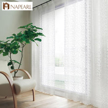 Load image into Gallery viewer, NAPEARL European style jacquard design home decoration modern curtain tulle fabrics organza sheer panel window treatment white